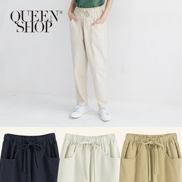 Queen Shop【04101318】基本素面鬆緊腰抽繩長褲 三色售*現+預*