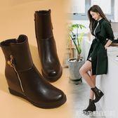 內增高短靴女春秋單靴新款韓版高跟馬丁靴冬季加絨白色棉鞋子  居家物語