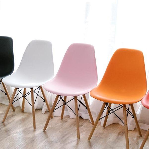椅子-伊姆斯椅實木餐椅現代簡約書桌椅北歐家用靠背凳子臥室休閒懶人椅【完美生活館】