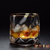 日本描金威士忌酒杯水晶玻璃洋酒杯子酒具北歐啤酒杯【倪醬小舖】