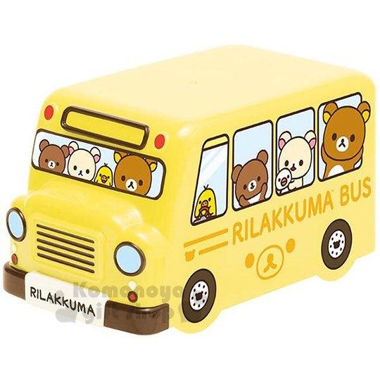 〔小禮堂〕拉拉熊 懶懶熊 巴士造型雙層便當盒附束帶《黃》保鮮盒.食物盒 4974413-72407