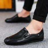 夏季男士豆豆鞋休閒男鞋韓版潮流一腳蹬懶人皮鞋 可可鞋櫃