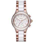 DKNY 精緻雅典娜三眼時尚腕錶-玫瑰金x雙材質錶帶