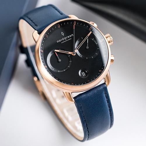 Nordgreen 42mm 北歐藍真皮錶帶 Pioneer先鋒 北歐設計師手錶 藍寶石鏡面 計時碼錶 玫瑰金殼 極夜黑錶盤