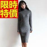 洋裝-修身顯瘦五分保暖高領羊毛連身裙4色63c39[巴黎精品]