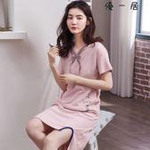 夏季短袖純棉女款睡裙可愛卡通居家服中裙薄款