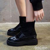 新款彈力襪子靴女百搭厚底漆皮魔術貼內增高中筒加絨棉鞋冬季·蒂小屋