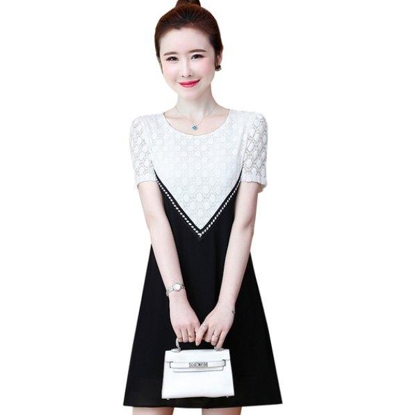 連身裙 大碼裝 短袖 L-5XL 新款短袖黑白拼接網蕾絲寬鬆大碼女裝連衣裙非A008-9265 胖胖唯依