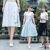 中國民族風蝴蝶花朵刺繡棉麻鬆緊腰半身裙女