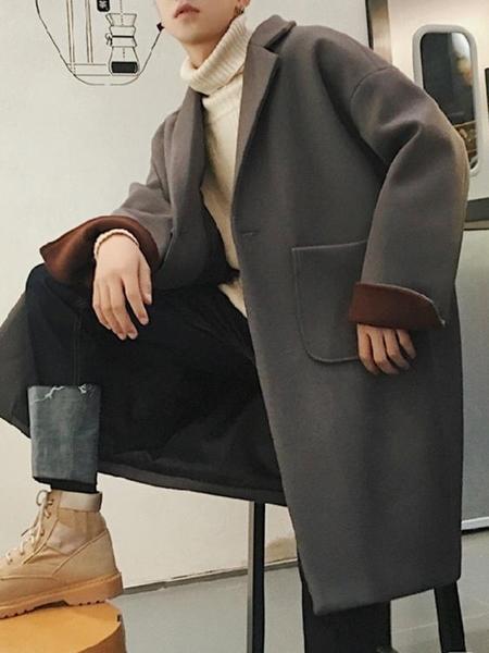 棉衣外套@方少男裝 秋冬中長款風衣男學生韓版寬鬆帥氣毛呢大衣百搭外套潮