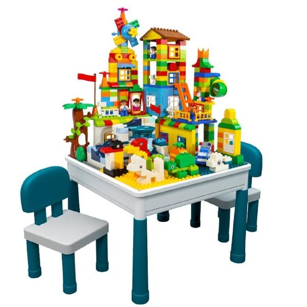 兒童大顆粒多功能legao積木桌子寶寶拼裝玩具益智4男孩子智力女孩 「夢幻小鎮」