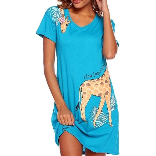 Enjoy 女棉柔軟針織長頸鹿印花連身睡衣