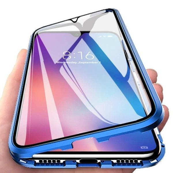 三星 Galaxy A9 2018 / A7 A8 A8 Plus 2018 全包金屬磁吸雙面玻璃免貼膜防摔手機殼