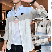 拼色長袖休閒襯衫 韓版美式長袖襯衫 2色 M-4XL碼【CW44043】