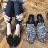 新款韓版包頭半拖鞋女涼拖夏懶人鞋尖頭時尚外穿平底穆勒鞋 俏腳丫
