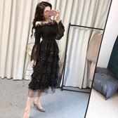 一字領洋裝 2019秋冬新款名媛時尚顯瘦甜美氣質一字肩喇叭袖長款蛋糕洋裝女『鹿角巷』