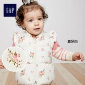 Gap女嬰兒 花朵圖案棉服背心 348778-象牙白