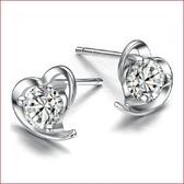 鍍銀耳飾品耳環 女柔美心形鍍銀耳釘 韓版歐美飾品《小師妹》ps408