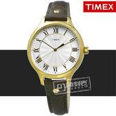 TIMEX 天美時 / TXTW2R43000 / 美國指標典雅女伶甜蜜綻放真皮手錶 銀x金框x墨綠 36mm