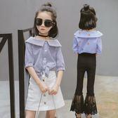童裝夏裝新款女童中袖條紋襯衫兒童五分袖韓版休閒襯衣潮 【販衣小築】