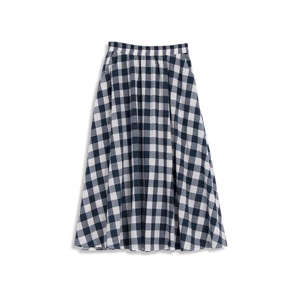 Queen Shop【03020510】童趣配色格紋傘襬棉麻長裙*現+預*