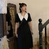 雪紡連身裙微胖大碼寬鬆顯瘦輕熟氣裙【小酒窩服飾】