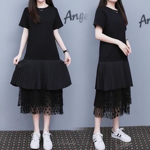 洋裝連身裙中大尺碼M-4XL時尚網紗拼接連身裙中長款T卹裙4F101-9856.胖丫