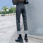 直筒牛仔褲 顯瘦3992#灰色牛仔褲女寬松闊腿百搭高腰顯瘦春秋煙管直筒褲子女1F157.1號公館