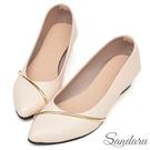 楔型鞋 斜金線皮革尖頭鞋-米白