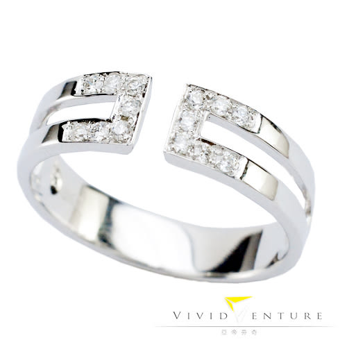 鑽石戒指 線戒 拼接款15分 白K金台 亞帝芬奇 幸運連連