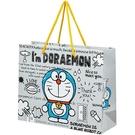 小禮堂 哆啦A夢 橫式方形手提紙袋 中提袋 禮物紙袋 包裝紙袋 禮品袋 (灰 站姿) 4973307-53717