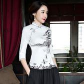 旗袍上衣改良時尚修身短款唐裝復古中式