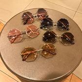 酷新品墨鏡八角邊形無邊框設計太陽鏡漸變茶淺色切割邊眼鏡 普斯達旗艦店