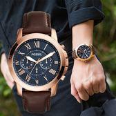FOSSIL Grant 羅馬時標紳士皮革腕錶 FS5068 熱賣中!