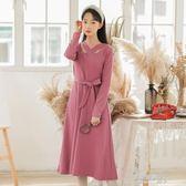 洋裝女中長款冬季新款韓版修身綁帶收腰針織內搭打底衫  凱斯盾數位3c