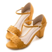 amai《12星座 - Cancer巨蟹座》浪漫花邊一字粗跟繞踝涼鞋 棕