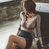 2018秋季性感連衣裙女裝名媛深V領包臀低胸顯瘦修身夜店場兩件套 挪威森林