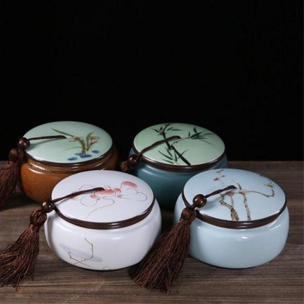 凝香閣 手繪定窯茶葉罐 陶瓷 密封罐 大號 禮盒裝 青瓷普洱醒茶罐 享購