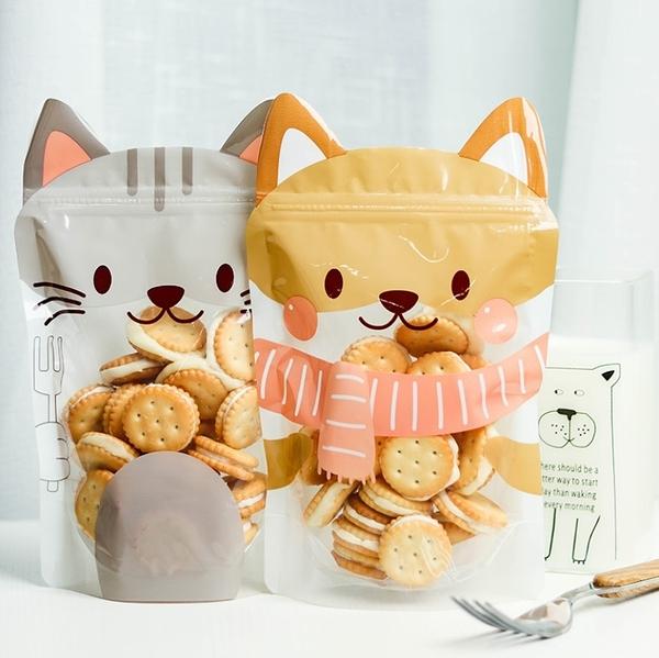 1入 可愛動物立耳可立袋 夾鏈袋 點心袋 餅乾袋 牛軋糖袋 糖果袋 包裝袋 自立透明袋【D130】