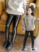 童褲 兩條裝女童皮褲秋冬裝新款兒童加絨加厚打底褲中大童外穿寶寶長褲子