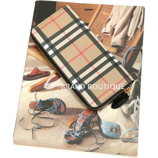 BURBERRY Vintage 格紋皮革窄版拉鍊式長夾(黑色) 1920456-01