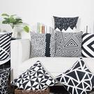 預購★0306-06簡約黑白絨布靠墊ins北歐沙發抱枕現代風格幾何雙面靠枕汽車腰枕(45*45cm+枕芯)