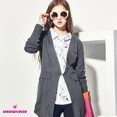 【SHOWCASE】無領開襟長版針織外套(灰色)