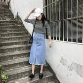 女裝韓版開叉高腰牛仔裙女百搭中長款修身學生半身裙 瑪奇哈朵