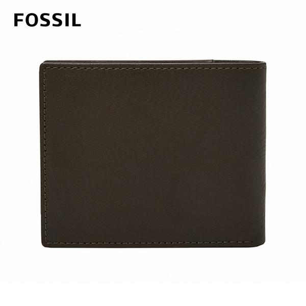 FOSSIL WARD 真皮帶翻轉證件格RFID男夾-深咖啡X酒紅色 ML4163201