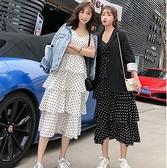 細肩帶洋裝 連衣裙新品吊帶波點蛋糕裙子女多層次長款韓版姐妹閨蜜裝 - 風尚3C