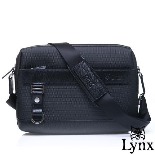 Lynx - 山貓經典極簡風格橫式真皮側背包-經典黑