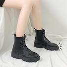 短靴 顯腳小馬丁靴女潮ins秋鞋年英倫風網紅平跟瘦瘦靴短靴子 晶彩 99免運