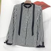 歐貨潮品DMG珍珠扣飄領帶立領絲質條紋襯衫早秋通勤氣質上衣 優拓
