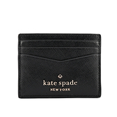 【KATE SPADE】Staci 素面防刮皮革卡片夾(黑色) WLR00129 001